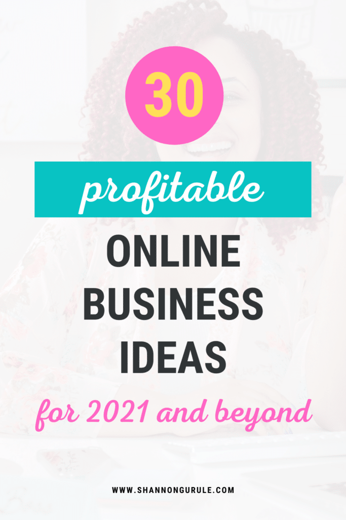this is a blog graphic image with the title of the blog post '30 profitable online business ideas for 2021 and beyond' written on it